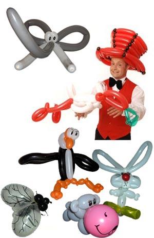 Ballonkünstler Bretten modelliert bunte Luftballonfiguren als Luftballonkünstler